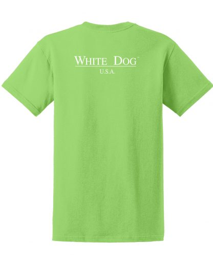 Westie t-shirt - #502 white dog trendy tee in lime green, back view.