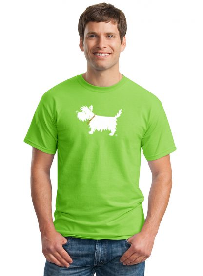 Westie t-shirt - #502 white dog trendy tee in lime green, shown on model.