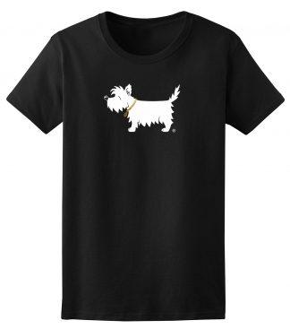Ladies' White Dog T-shirt classic black - front
