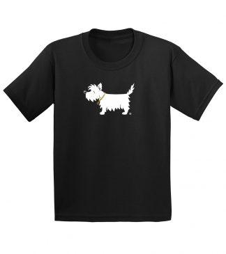 Kids' White Dog T-Shirt #301 classic black