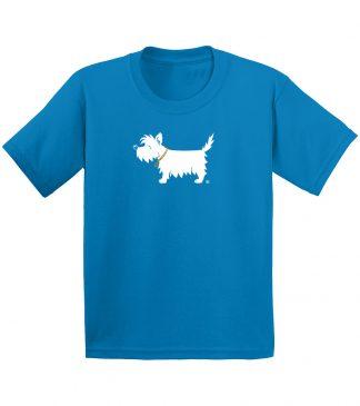 Kids White Dog Shirt / Kids Westie Shirt #302 sapphire blue, front.