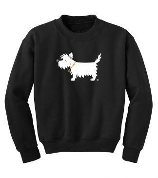 White Dog Kids' Sweatshirt #303- White Dog youth sweatshirt, front