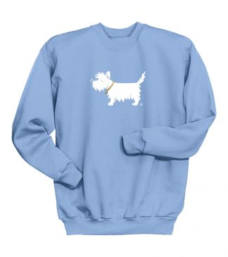 kids' westie sweatshirt - white dog youth trendy sweatshirt #320 light blue, front.