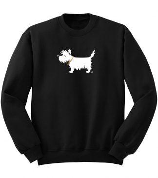 White Dog Sweatshirt #503, classic black .