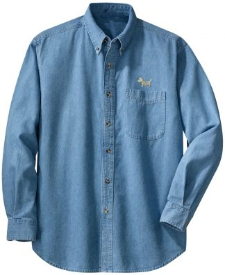 White Dog Denim Shirt / Westie Denim Shirt #507-lt-denim