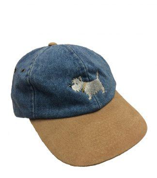 Westie Cap / White Dog Two-Tone Cap #508 dark denim / tan suede bill