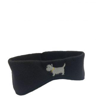 Westie Headband #509 - White Dog Ear Warmers - Classic Black