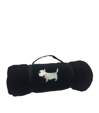 Westie blanket #510 White Dog Fleece Blanket - Classic Black.