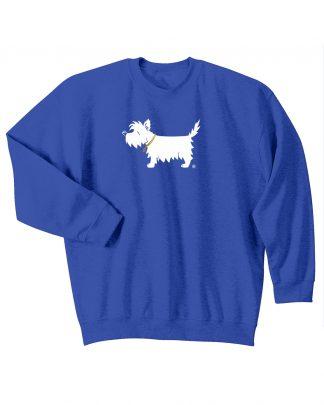 Kids' westie sweatshirt - white dog youth trendy sweatshirt #320 royal blue.
