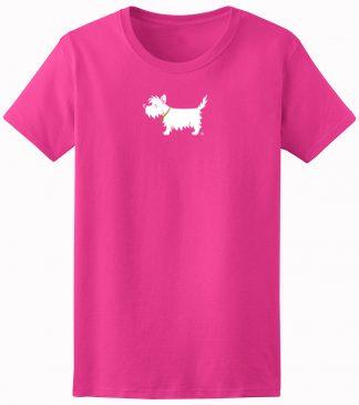 Ladies' Westie T-Shirt / White Dog Ladies' Trendy T-Shirt #702, rosy raspberry.
