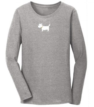 """ladies' westie long sleeve t-shirt / ladies' white dog long sleeve t-shirt 705 ladies longsleeve tee Sport Gray front Our 100% cotton, heavyweight, long sleeve t-shirt. Screen-printed with the White Dog (Westie, West Highland White Terrier) logo on front & """"White Dog USA"""" on back"""