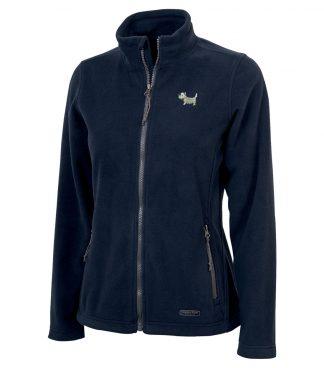 Ladies Westie Jacket / Ladies White Dog Fleece Jacket 716 navy blue