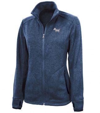 ladies' white dog sweater fleece / ladies' westie sweater fleece #717, Heather Blue