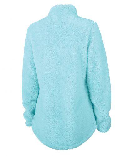 ladies' white dog fuzzy | 718 ladies fuzzy fleece back | aqua blue