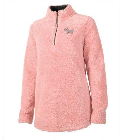 ladies' white dog fuzzy | 718 ladies fuzzy fleece | petal pink